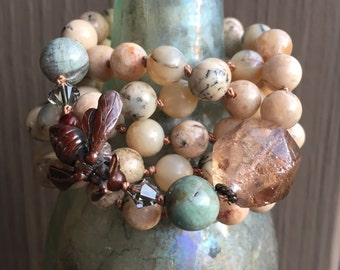 spring and summer bee necklace by forgivingworks