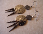 SALE - Silver and Gunmetal Coin Earrings with Spikes