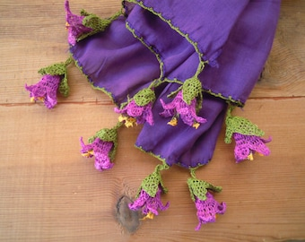 long purple scarf with crochet flowers, cotton
