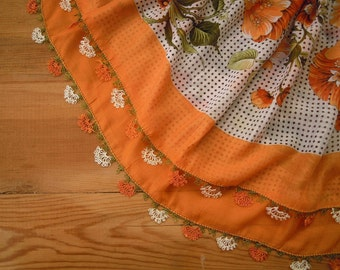 orange scarf, turkish oya, needle lace trim