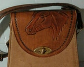 Vintage Tooled Leather of a Horse Head Cross body Handbag