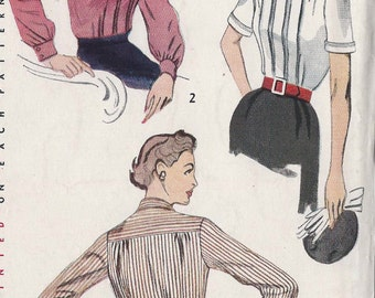 Vintage 1950's Misses Dart Tucked Blouse Pattern, Box Pleats, Tie Collar, Simplicity 3661