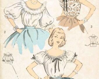 Vintage 1950's Misses' Drawstring Blouse Pattern, Sleeveless, Short or Three Quarter Length Sleeves, Advance 6754