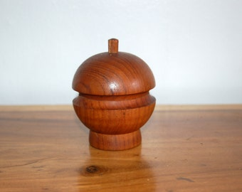 Original Dansk Lisbet MCM Danish Siamese Teak Apple / Orb Salt Shaker & Pepper Mill / Grinder Combo Quistgaard JHQ IHQ ~ Very Good Condition