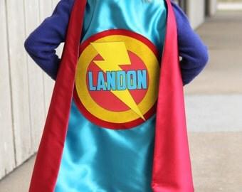 Halloween Ready - Kis Superhero Costume - PERSONALIZED SUPERHERO Party CAPE with Full Name - Customized boy birthday present