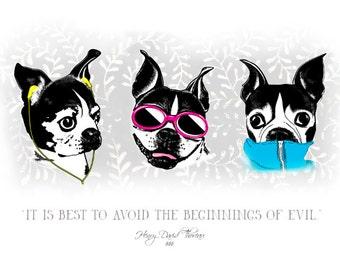 "Boston Terrier- ""No Evil"" Handmade Card"