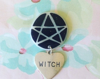 witch, Pentacle brooch, pin, brooch,pinback button,witchy pin,holographic glitter,Hillary 2016,feminist wearable art