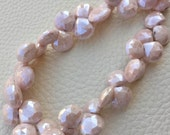 Brand New, Rare Natural Mystic Pink Moonstone Faceted Heart Shape Briolettes,7-8mm size,1/2 Strand,Amazing Item.