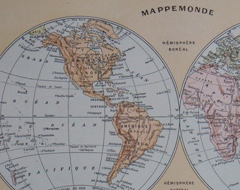 Antique Map of the World in two hemispheres World Globes published in France 1923