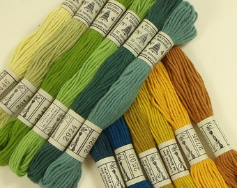 Embroidery Cotton Thread Vintage French 1960s 12 unused skeins in dusky green gold and blue colors in an original box