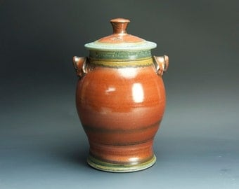 Sale - Handcrafted pottery canister cookie jar kitchen storage jar brick red  3334