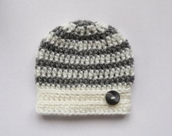 PROMO 10% PROMO Crochet Baby Hat _ Newborn Baby Stripe Hat _ NewBorn Baby Hospital Hat _ Photo Props Baby Hat