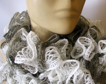 HOLIDAY SALE 50% SALE Knit Scarf- Holiday Gift for Her - Ruffle Lace Jersey Scarf