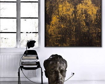 Large Abstract Painting modern black gold Painting square -golden echoes -art wall decor Elena Petrova.