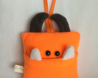 Tooth Fairy Pillow | Bright Orange and Dark Gray Tooth Monster | Tooth Fairy Monster Pillow