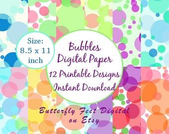 Bubbles Digital Paper Pack, 8.5 x 11 Letter Size, 12 Printable Designs, Bubbles Party Paper, Instant Download