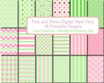 Pastel Digital Paper Pink and Green, 18 Printable Designs, Scrapbooking, Card Making, Instant Download