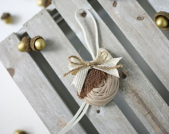 Acorning To You headband - tan brown burlap rosette acorn fall headband bow