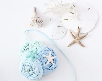 Beached- seaside inspired rosette headband