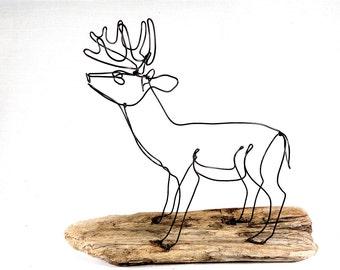Deer Wire Sculpture, Deer Wire Art, Trophy Buck Wire Sculpture, 461706822