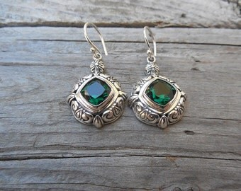 Gorgeous deep green amethyst earrings handmade in sterling silver