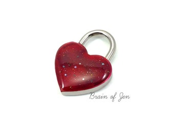 Heart Shaped Padlock Blood Red Sparkly Day Collar Lock and Key