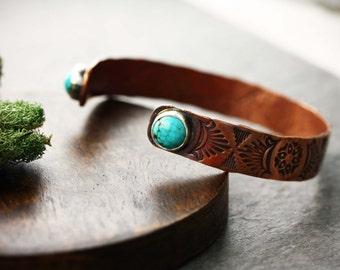 Stamped Copper cuff bracelet with Turquoise- Copper cuff- Native American cuffs- Copper bangle bracelet- Turquoise cuff- hand stamped cuff