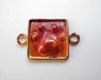 Solid Copper Connector Paws Dog Cat Paw Prints 32mm 19mm