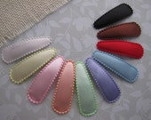 Solid Satin Snap Clips . choose your color. girls hair accessory . set of 2