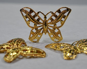 Gold plated butterfly drops, 45x32mm, #717