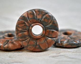 Carved jasper focals, drilled, 15-20mm, #0065