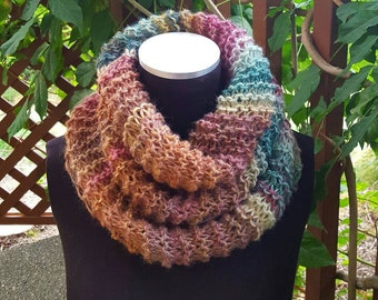 Hand Knit Infinity Cowl Scarf in Shades of Summer