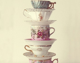 Vintage Teacups Photograph, Fine Art Photography, Tea, Cups, Retro, China, Teapart, Alice in Wonderland, Shabby Chic, Pink, Cream, Kitchen