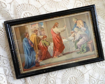 Framed Raising Jairus' Daughter Bible Story Print Vintage at Quilted Nest