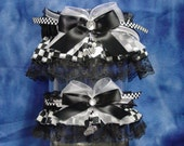 Racing Flag Wedding Garter Set in Black