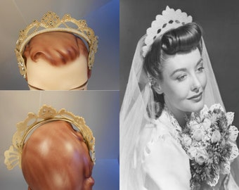 Her Perfect Wedding - Vintage 1940s Ivory Sequin & Pearl Beaded Butterfly Crown Tiara