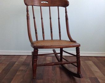 19th Century Rocking Chair Cane Seat Rocker Rocking Chair Turned Spindle Carved Oak Wood Caned 15 Inch Height, Oak,