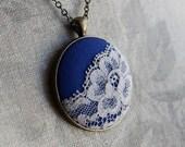 Cobalt Blue Jewelry, Unique Necklace for Women, Boho Necklace Cobalt Blue Wedding Gift, Blue Bridesmaid Necklace Pendant, Gray Lace Necklace