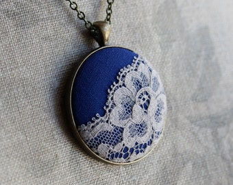 Unique Necklace for Women, Blue Boho Necklace With Lace, Cobalt Blue Jewelry, Wedding Gift, Wholesale Jewelry