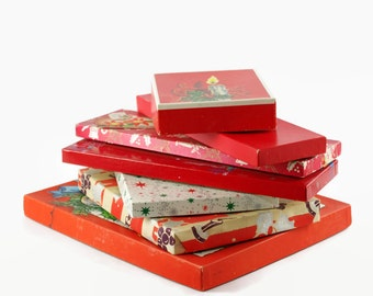 Vintage Christmas Boxes, Santa Claus, Holly, Reindeer, Bells, Gift Boxes, Tie Box, Glove Box, Christmas Display, Holiday Decor
