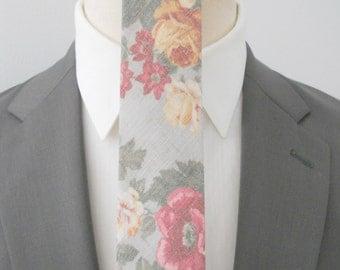 Graphite Floral Linen Neck Tie