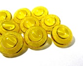 Yellow Moonglow Glass Buttons West Germany VINTAGE Buttons Ten (10) Moonglow Luster Yellow Vintage Wedding Jewelry Sewing Supplies (T37)