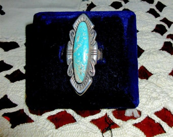 Old Pawn Navaho Sterling & Turquoise Ring, Size 5
