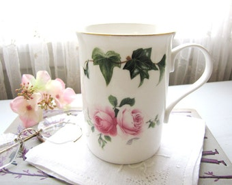 Vintage Bone China Mug Staffordshire England Pink Roses Crown Trent from AllieEtCie