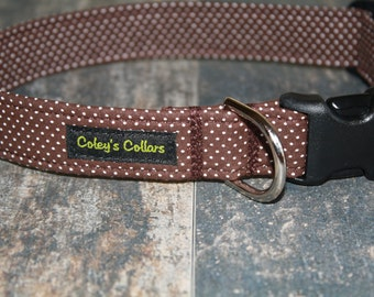 "Dog Collar ""The Pin Dot in Chocolate"""