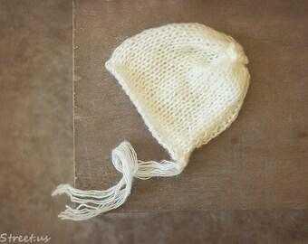 Baby Girl Mohair Hat, Ivory Newborn Knit Hat, Off White Newborn Hat, Baby Girl Photo Prop, Boy Hat, Newborn Props, RTS Props, Mohair Bonnet