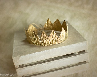 Newborn Gold Crown, Baby Gold Headband, Newborn Props, Boy Props, Baby Props, Baby Tiara, Baby Gold Crown,Christmas, Gold Mini Crown RTS