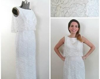 1960s Lace Wedding Dress // Silver Thread Straight Skirt Peplum Top Vintage Bride