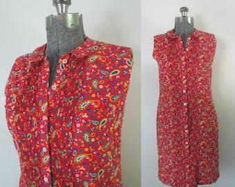 1960s Paisley Sleeveless Shirt Dress Mod Pintucked Button Front Daydress