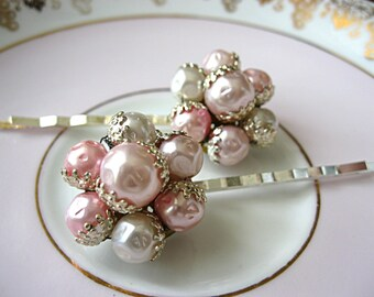 Baby pink and white beaded vintage earring bobby pins, vintage jewelry hair pins, bridal hair pins, bridesmaid hair pins, prom